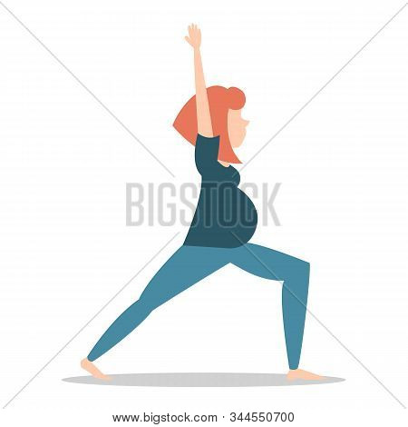 Pregnant Woman Standing In Yoga Pose Vector Isolated