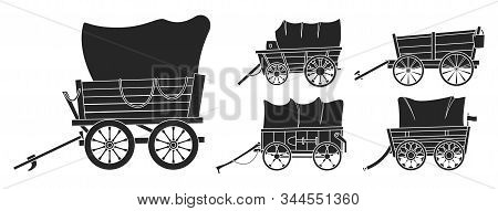 Wild West Wagon Vector Black Set Icon.vector Illustration Set Western Of Old Carriage On White Backg