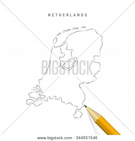 Netherlands Sketch Outline Map Isolated On White Background. Empty Hand Drawn Vector Map Of Holland.