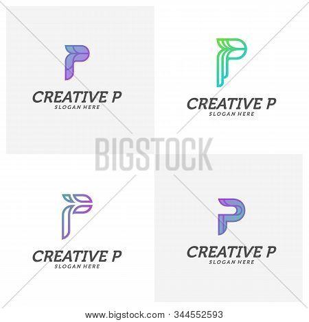 Set Of Abstract Letter P Logo Icon For Corporate Identity Design Isolated, Creative P Logo Design Te