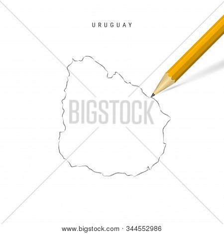 Uruguay Sketch Outline Map Isolated On White Background. Empty Hand Drawn Vector Map Of Uruguay. Rea