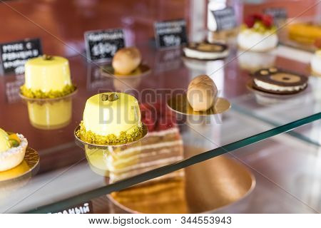 Cafeteria, Bakery Shop With Various Kinds Of Bakery Such As Cookies, Cakes, Pastries, Shopping Area.