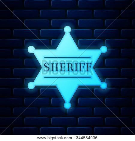 Glowing Neon Hexagonal Sheriff Star Icon Isolated On Brick Wall Background. Sheriff Badge Symbol. Ve
