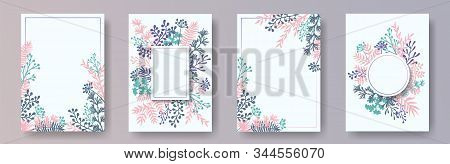 Hand Drawn Herb Twigs, Tree Branches, Leaves Floral Invitation Cards Set. Herbal Corners Rustic Invi