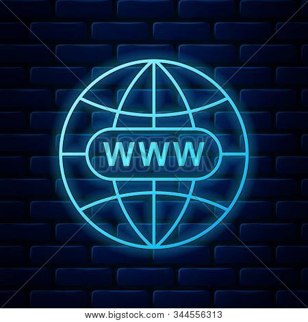 Glowing Neon Go To Web Icon Isolated On Brick Wall Background. Www Icon. Website Pictogram. World Wi