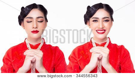 Tradition Of China. Beautiful Young Chinese Woman Making A Wish And Get Happiness, Successful After