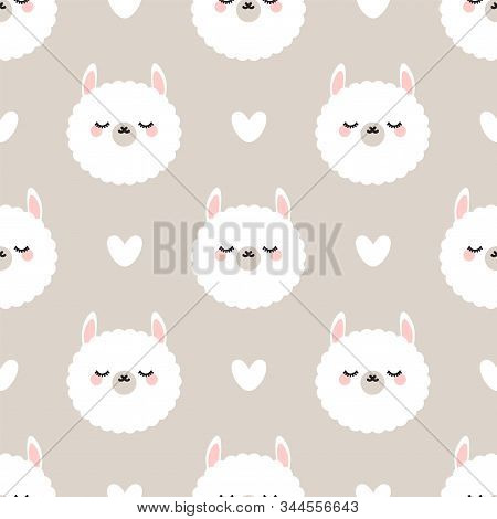 Cute Lama With Closed Eyes. Seamless Vector Pattern