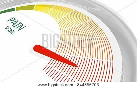 Color Scale With Arrow From Green To Red. The Pain Level Measuring Device Icon. Sign Tachometer, Spe