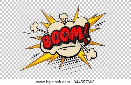 Boom Pop Art Cloud Bubble. Smile, Wow, Pow, Cool, Ok, Oops, Wtf Funny Speech Bubble. Trendy Colorful