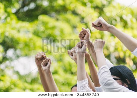 Teamwork Business Join Hand Together Concept, Business Team Standing Hands Together, Volunteer Chari