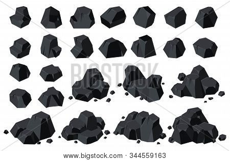 Coal Of Energy Isolated Cartoon Icon. Vector Illustration Set Charcoal On White Background .vector C