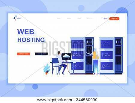 Modern Flat Web Page Design Template Concept Of Web Hosting Decorated People Character For Website A