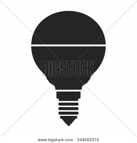 Halogen Bulb Vector Icon. Black Vector Icon Isolated On White Background Halogen Bulb.