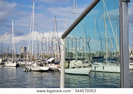 Yachts And Sailing Boats In Port Vell (old Harbour). Port Vell And Rambla De Mar - One Of Main Attra