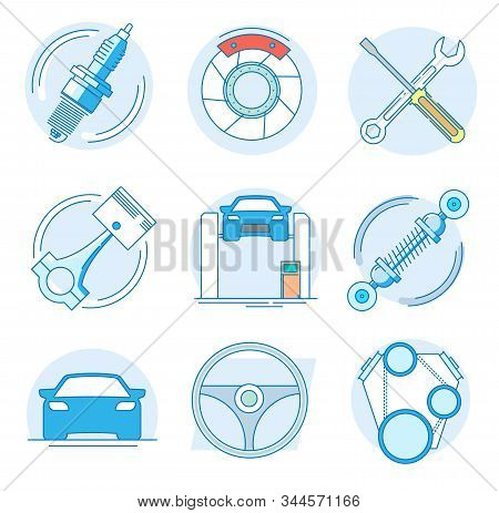 Modern Linear Pictogram Of Auto Parts. Icons Of Auto Parts. Automotive Services Auto Parts. Computer