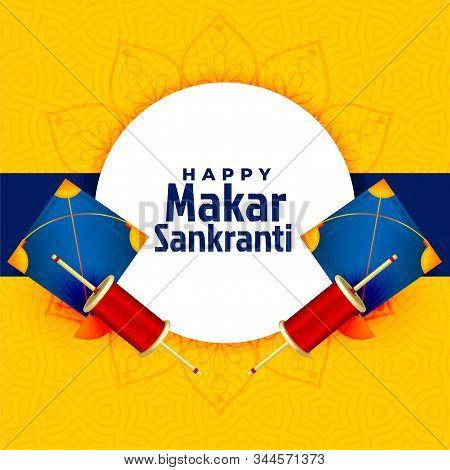 Happy Makar Sankranti Festival Card With Kite Design