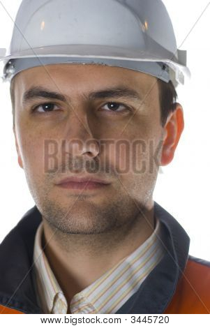 Confident Engineer Isolated On White