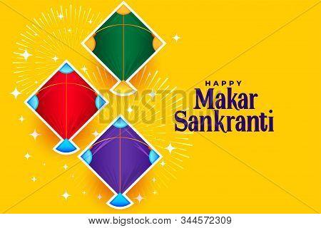 Makar Sankranti Banner With Three Kites Designs