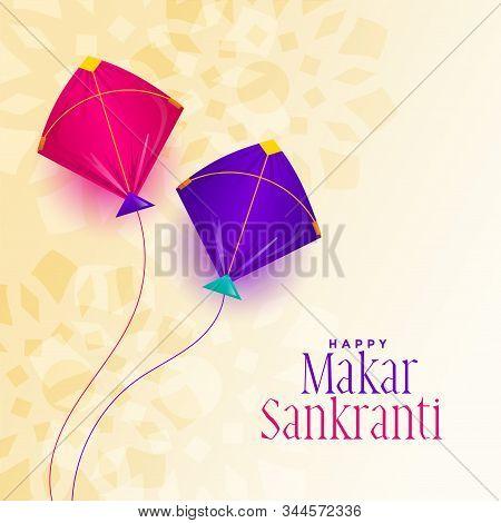 Makar Sankranti Festival With Two Kite Background