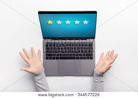 Awful Survey, Bad Rating. Woman Wondering About Lowest Rating On Screen Of Laptop, White Background,