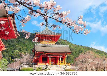 Pavilion in Kiyomizu-dera Temple (Clean Water Temple) and sakura flowers. Spring time in Kyoto, Japan. Sakura blossoming season