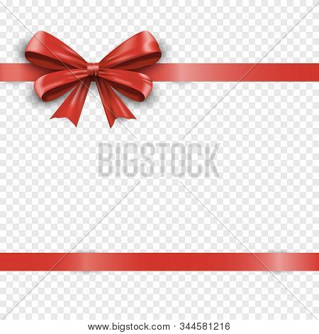 Realistic Horizontal Red Silk Gift Bow With Ribbon Isolated On Transparent Background. Valentine Or