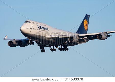 Frankfurt / Germany - December 8, 2012: Lufthansa Boeing 747-400 D-abvr Passenger Plane Landing At F