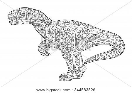 Beautiful Monochrome Cartoon Illustration For Coloring Book Page With Raptor Silhouette Isolated On