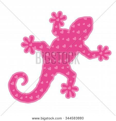 Beautiful Romantic Illustration With Decorative Pink Gecko Silhouette With Heart Shapes Isolated On