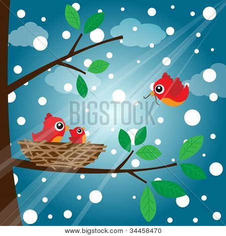 Loving bird feeding in the morning with snow poster