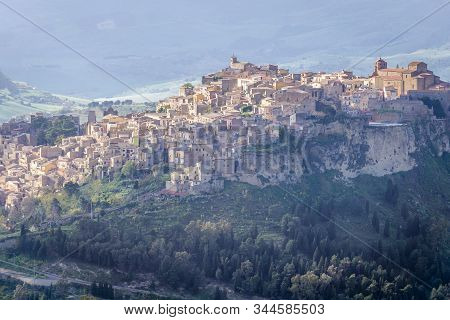 Historical Town Calascibetta - View From Enna City On Sicily Island In Italy