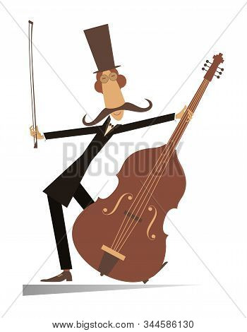 Cartoon Long Mustache Cellist Isolated Illustration. Smiling Mustache Man In The Top Hat With Cello