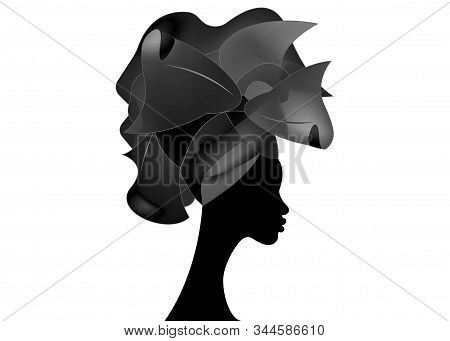 African Wedding Hairstyle Head Wrap, Black Head Scarf Of Satin, Beautiful Portrait Afro Woman In Tra