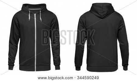 Mens Hoodie Black With Zipper Isolated On White Background. Blank Template Hoody Front And Back View