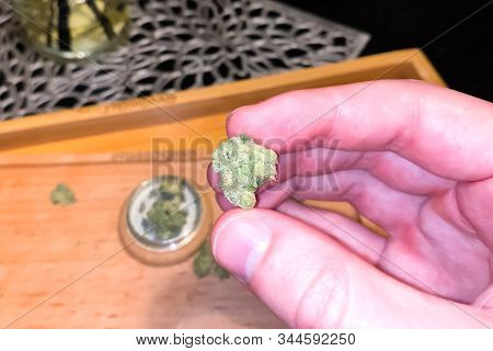 Small Dried Cannabis Inflorescence. Dope Marijuana From Dried Hemp Inflorescences.