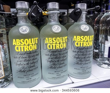 Samara, Russia - January 12, 2020: Absolut Vodka Ready For Sale On The Shelf In Superstore. Swedish