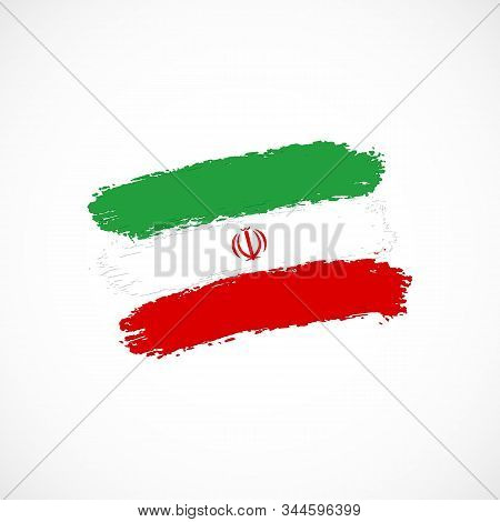 Vector Flag Of Islamic Republic Of Iran Isolated On White Background. Hand Drawn Brush Strokes Flag