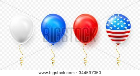 Helium Balloons With American Flag Isolate On White Background. Shine Usa Helium Balloon Festival De