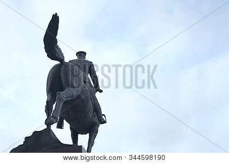 Moscow, Russia, January 6, 2020: Monument To Marshal Zhukov In Manege Square In Moscow Back View