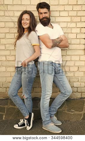 Romance Is What Takes Your Relationship Past Friendship. Couple In Love Standing On Brick Wall. Sens
