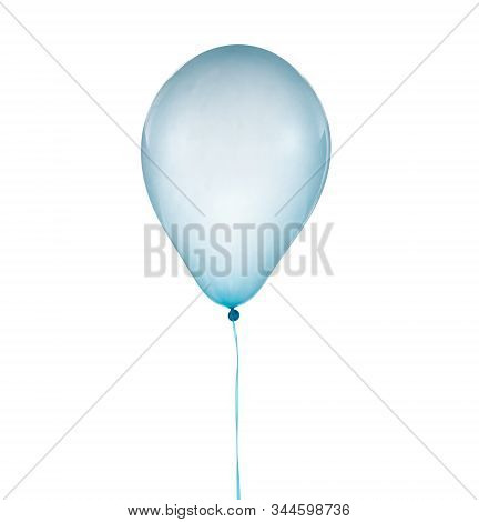 Cyan Helium Balloon For Birthday And Celebrations Isolated On White Background