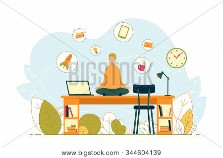 Businessman In Meditative Relaxing Yoga Pose At Workplace. Stress Relief And Keeping Calm In Multita