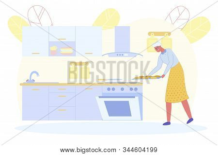 Cheerful Senior Woman Put Buns Into Oven On Kitchen. Grandmother Waiting Grandchildren For Guest Coo