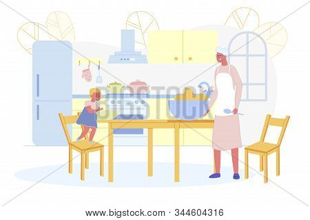 Little Granddaughter Helping To Aged Grandmother To Cook Bakery On Kitchen. Girl Stand On Stool Mixi