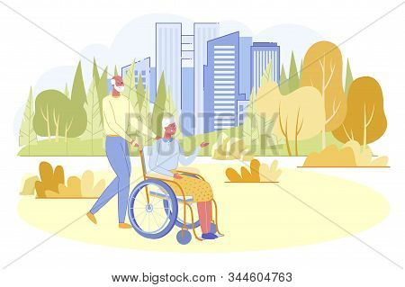 Loving Senior Man Walking With His Disabled Wife Sitting In Wheelchair In City Park. White Haired Pe