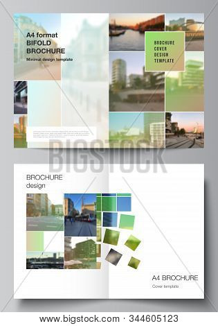 Vector Layout Of Two A4 Cover Mockups Design Templates For Bifold Brochure, Flyer, Magazine, Cover D
