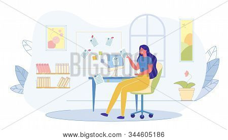 Office Worker Examiners Job Candidate Illustration. Girl Examines Resume Candidates For Work In Her