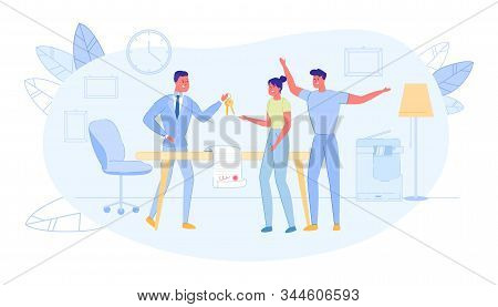 Realtor Holding Bunch Keys And Passing In Hand Joyful Young Family Couple. Deal Of Property For Sale