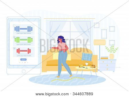 Girl Orders Dumbbells On Site Vector Illustration. Woman Wants To Lose Weight And For This Order Spo