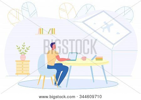 Informative Poster, Dreaming About Weekend Flight. Remote Worker Works At Home At Computer. He Peere